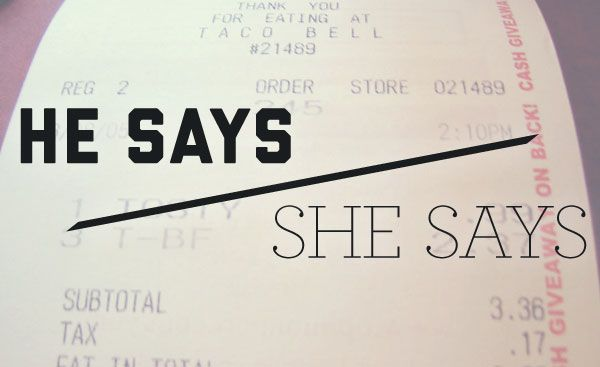 He Says/She Says: Saving receipts