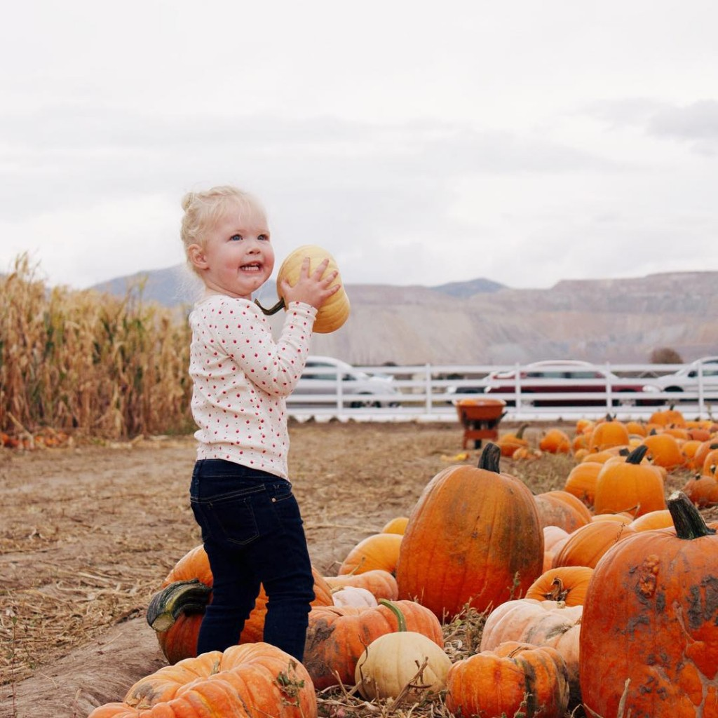 Shaking with excitement at the pumpkin patch yesterday