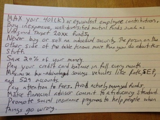 Financial Success Roadmap on an Index Card