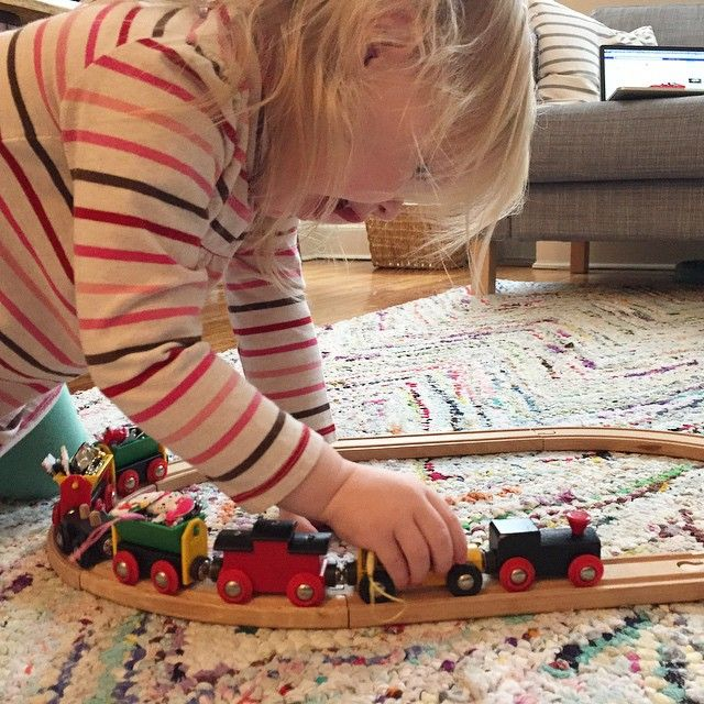 New favorite winter activity: filling her train cars with Hello…